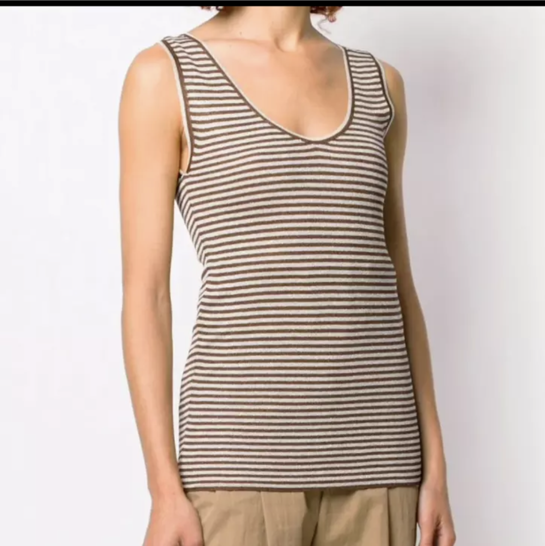 NWT SS19 $1295 Brunello Cucinelli Women Striped Gold Tank 2 Tone Other0