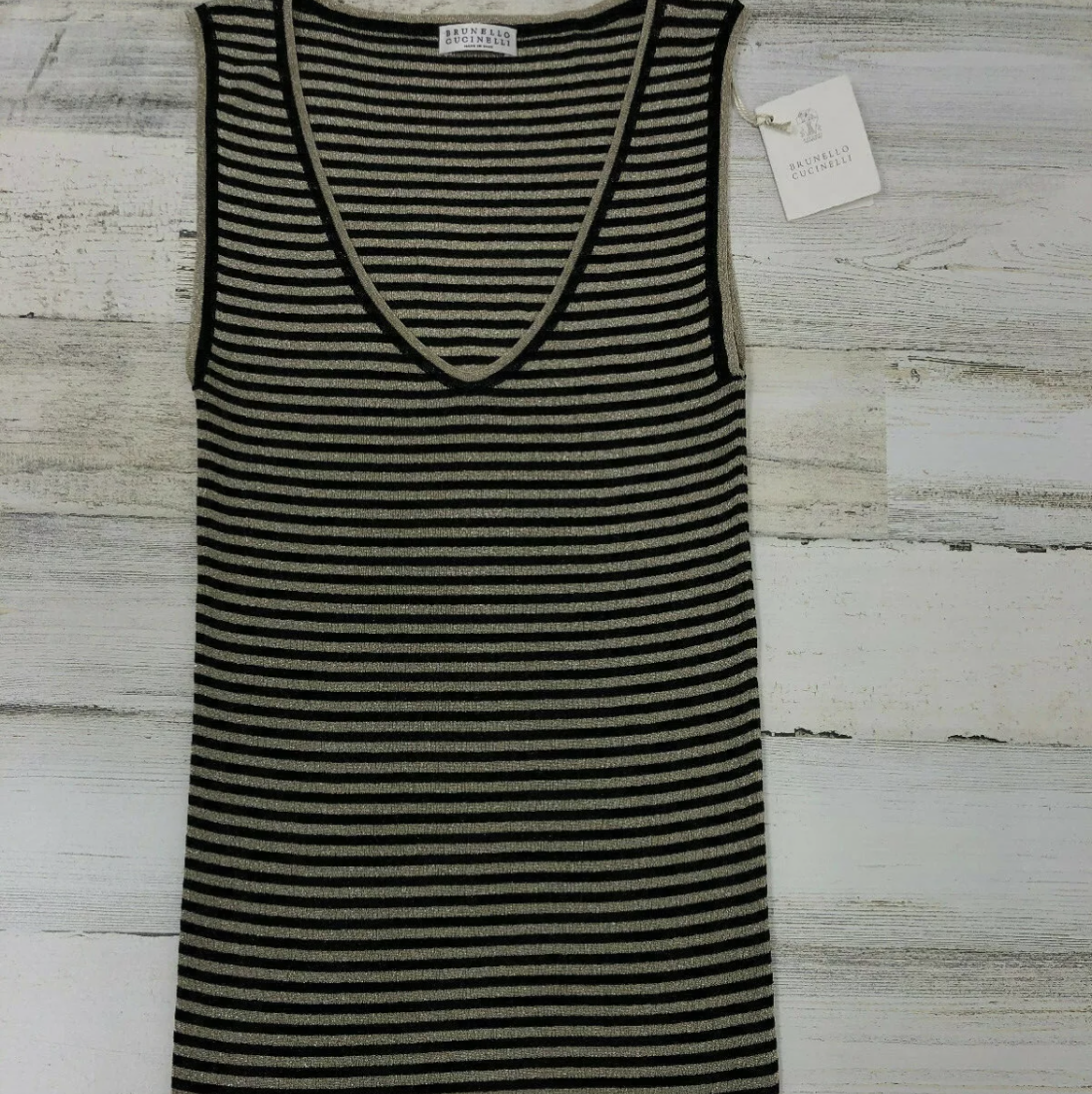 NWT SS19 $1295 Brunello Cucinelli Women Striped Gold Tank 2 Tone Other1