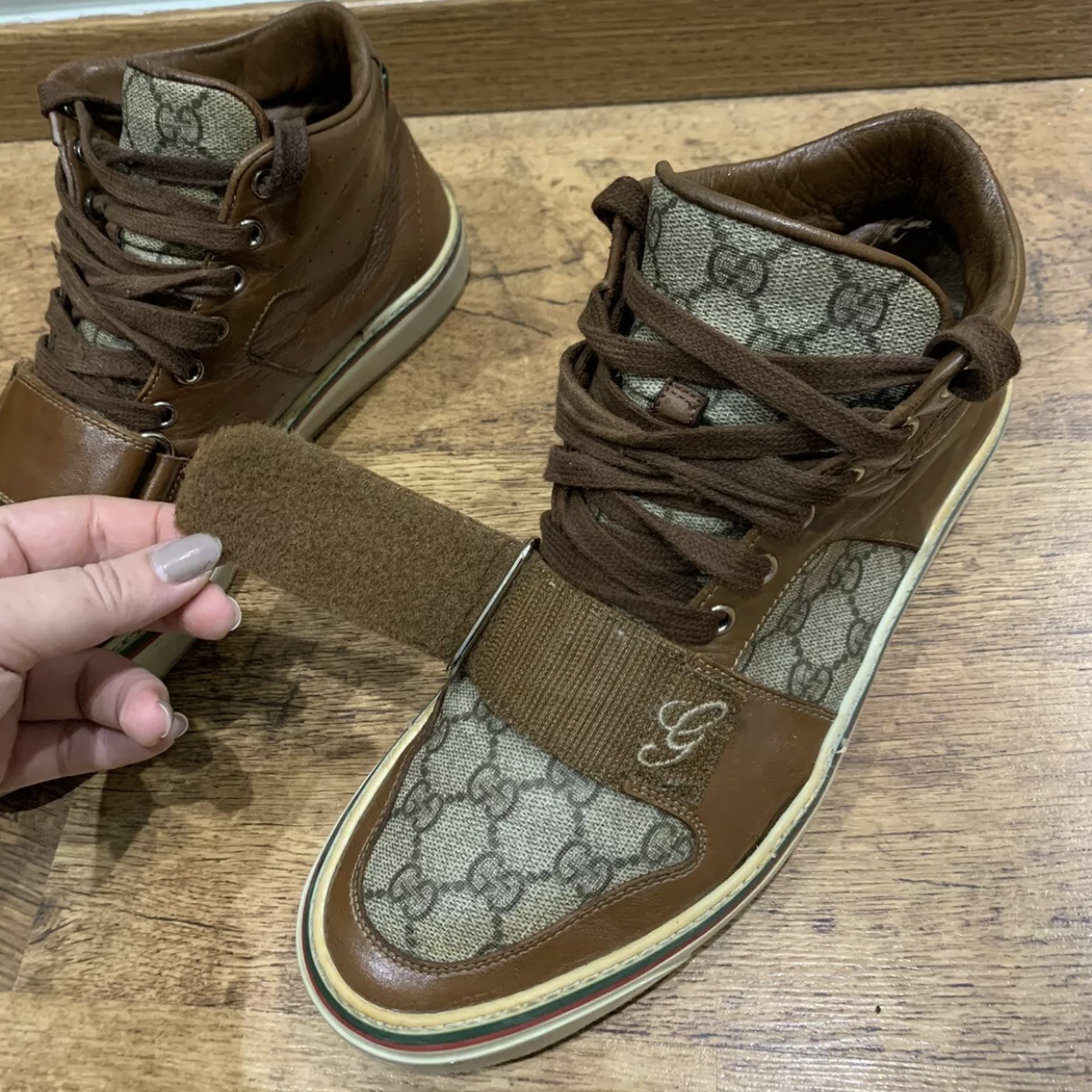 Gucci Sneakers Brown Men's High Top Leather Brown Gg MonogramGucci1