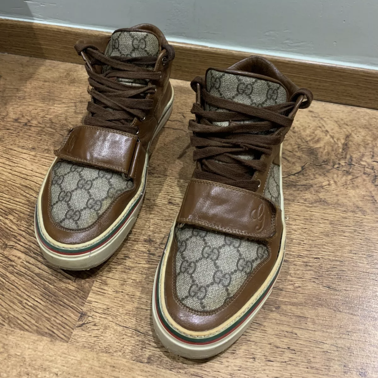 Gucci Sneakers Brown Men's High Top Leather Brown Gg MonogramGucci4
