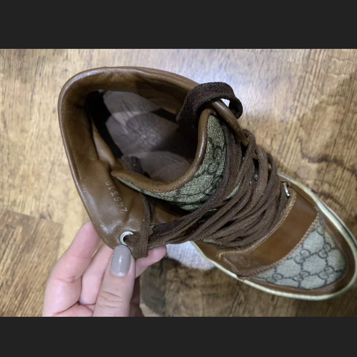 Gucci Sneakers Brown Men's High Top Leather Brown Gg MonogramGucci0