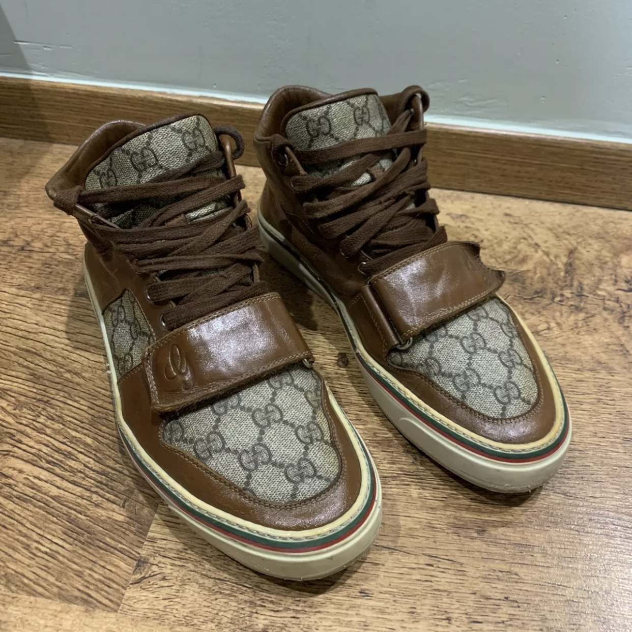 Gucci Sneakers Brown Men's High Top Leather Brown Gg MonogramGucci2